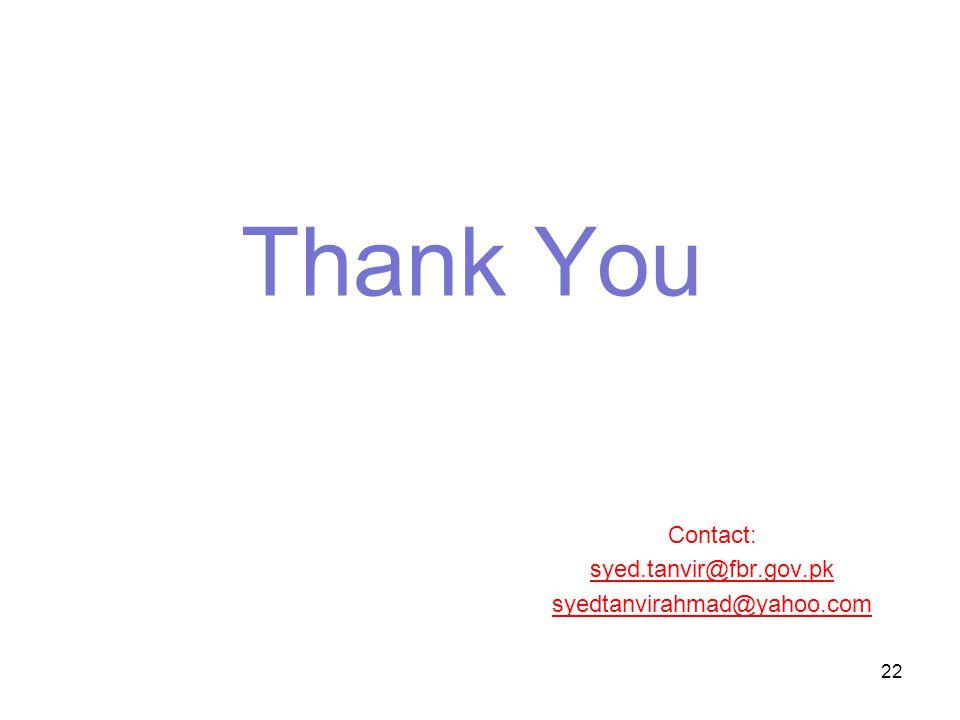 Thank You Contact: syed.tanvir@fbr.gov.pk syedtanvirahmad@yahoo.com 22