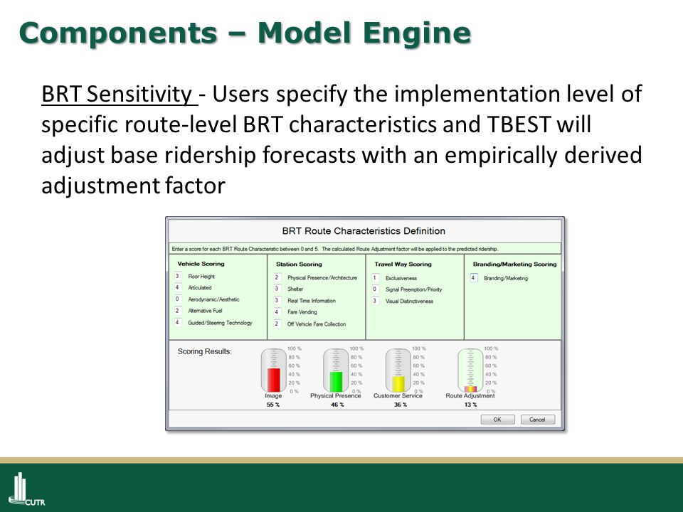 Components – Model Engine BRT Sensitivity - Users specify the implementation level of specific route-level BRT characteristics and TBEST will adjust base ridership forecasts with an empirically derived adjustment factor