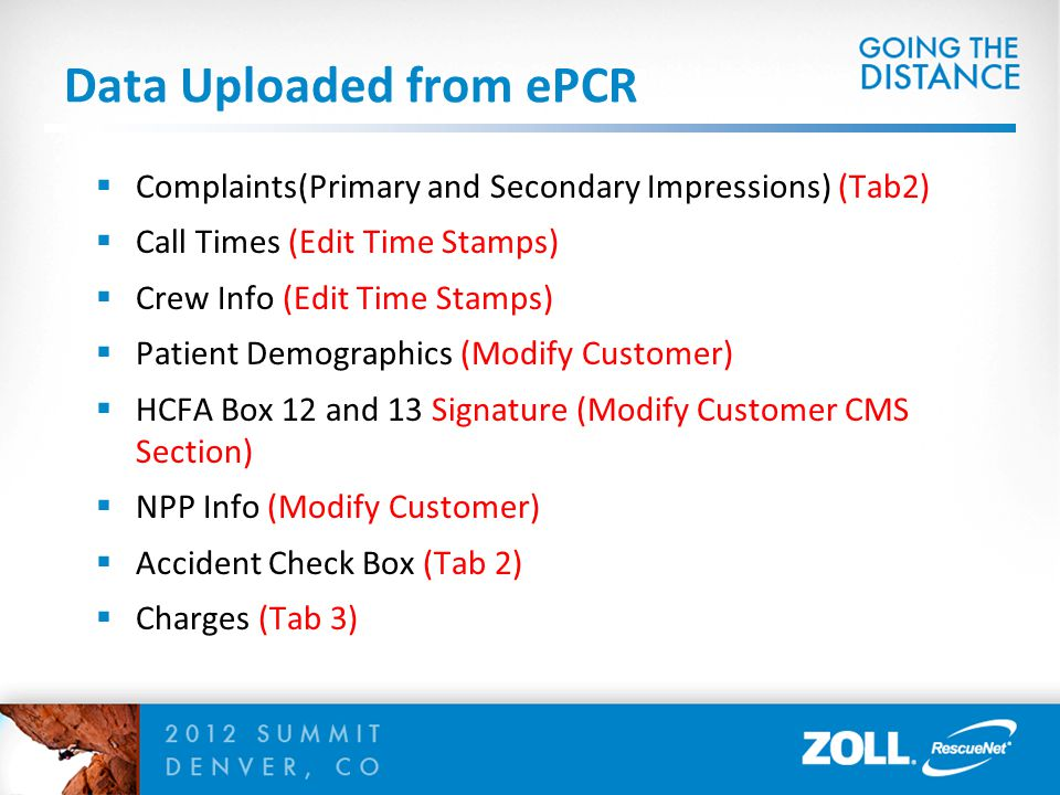 Data Uploaded from ePCR  Complaints(Primary and Secondary Impressions) (Tab2)  Call Times (Edit Time Stamps)  Crew Info (Edit Time Stamps)  Patient Demographics (Modify Customer)  HCFA Box 12 and 13 Signature (Modify Customer CMS Section)  NPP Info (Modify Customer)  Accident Check Box (Tab 2)  Charges (Tab 3)