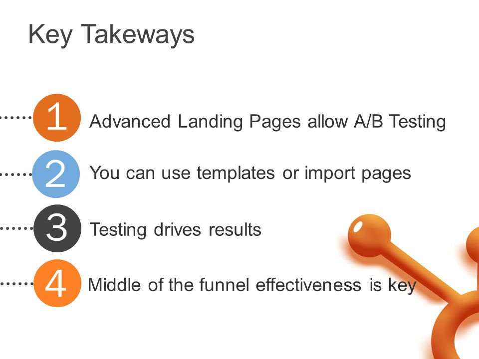 Key Takeways Advanced Landing Pages allow A/B Testing You can use templates or import pages Testing drives results Middle of the funnel effectiveness is key 1 2 3 4