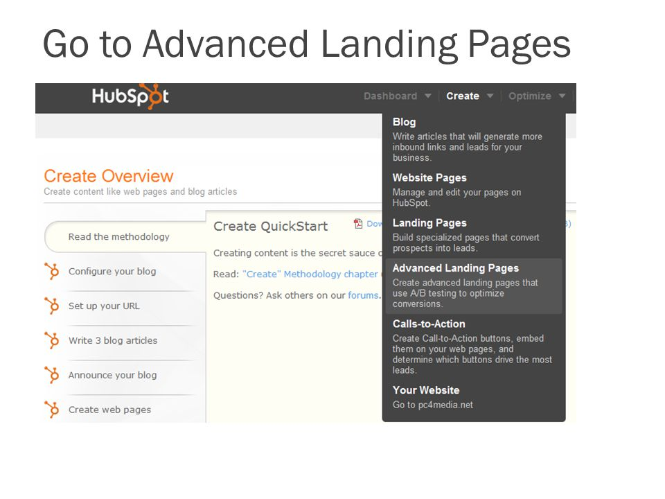 Go to Advanced Landing Pages