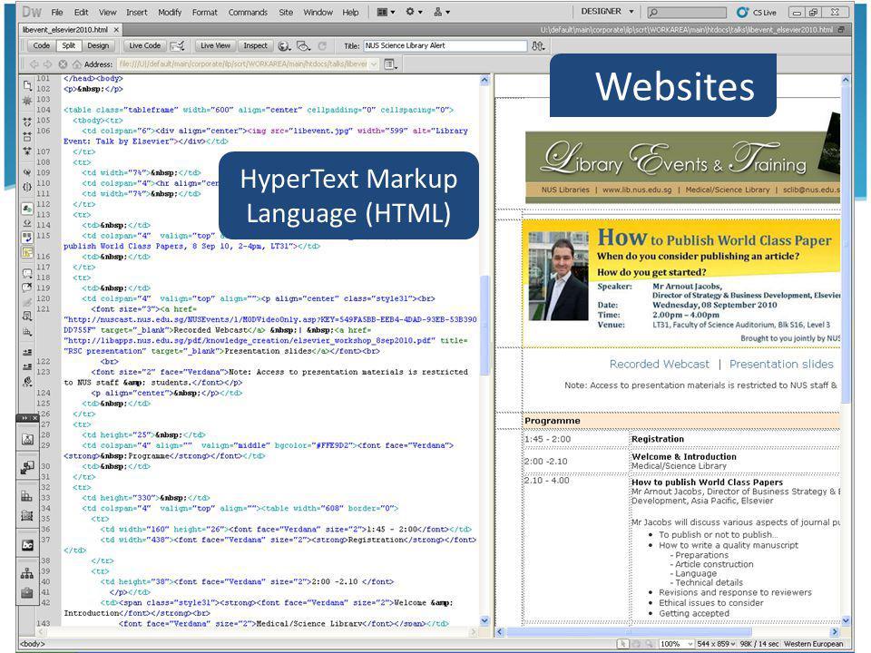 31 Websites HyperText Markup Language (HTML)