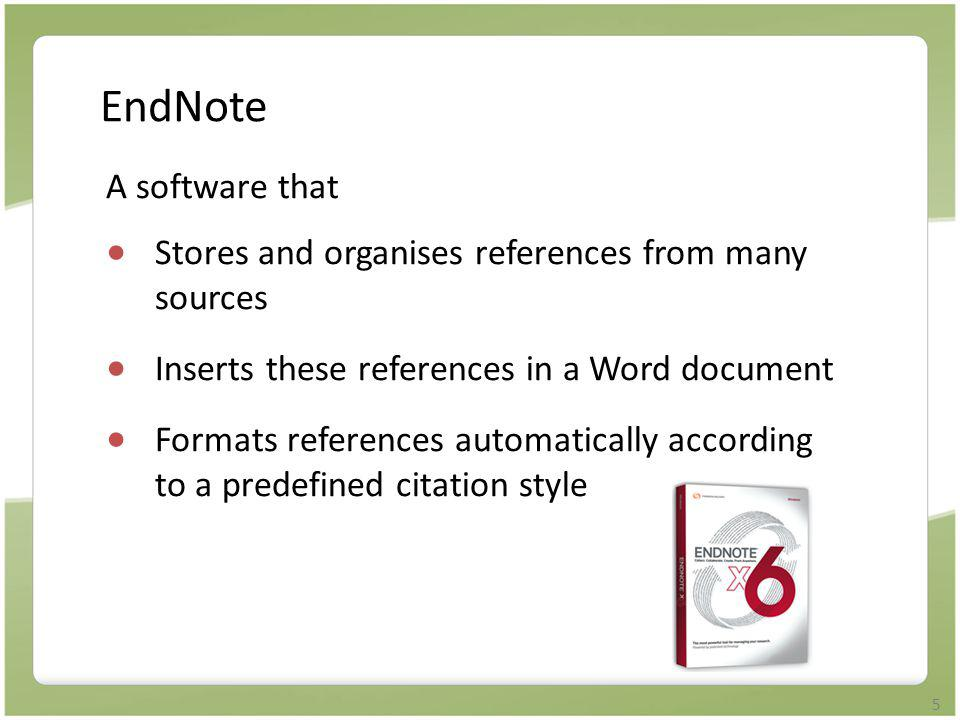 16 Method 5: Import File  Requires saving references selected as a text file (*.txt) and importing it to EndNote library using an appropriate filter  Used for very few databases, e.g.
