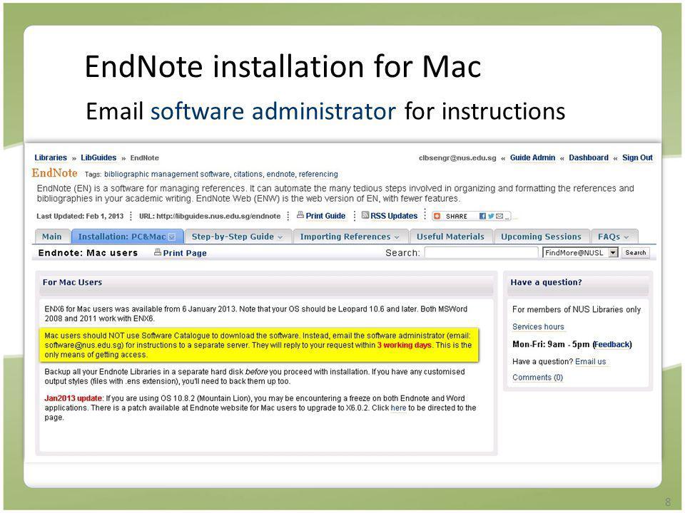 9 Create your EndNote library Launch EndNote program File menu > New … > filename.enl Save E.g.