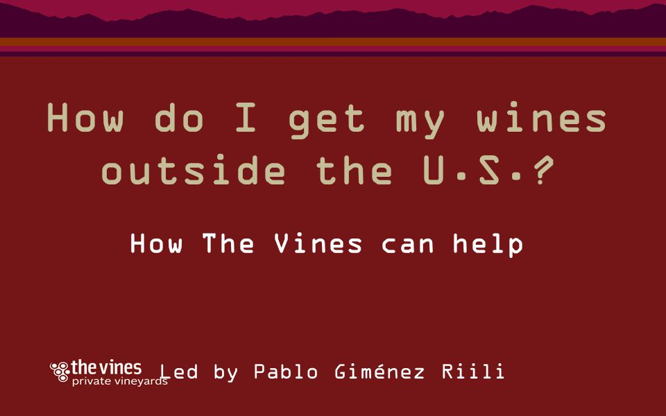 How do I get my wines outside the U.S.? How The Vines can help Led by Pablo Giménez Riili