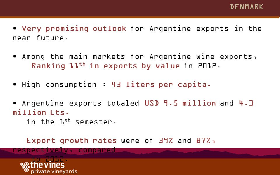 DENMARK Very promising outlook for Argentine exports in the near future. Among the main markets for Argentine wine exports, Ranking 11 th in exports b