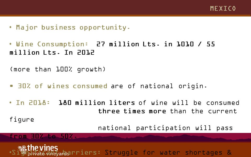 MEXICO Major business opportunity. Wine Consumption: 27 million Lts. in 1010 / 55 million Lts. In 2012 (more than 100% growth) 30% of wines consumed a