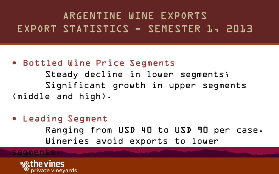 ARGENTINE WINE EXPORTS EXPORT STATISTICS - SEMESTER 1, 2013 Bottled Wine Price Segments Steady decline in lower segments; Significant growth in upper