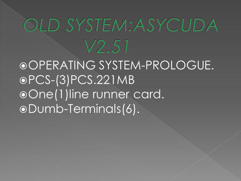 ◉ OPERATING SYSTEM-PROLOGUE. ◉ PCS-(3)PCS.221MB ◉ One(1)line runner card. ◉ Dumb-Terminals(6).