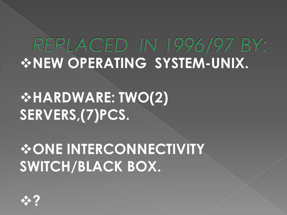  NEW OPERATING SYSTEM-UNIX.  HARDWARE: TWO(2) SERVERS,(7)PCS.  ONE INTERCONNECTIVITY SWITCH/BLACK BOX. ??