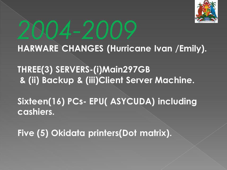 2004-2009 HARWARE CHANGES (Hurricane Ivan /Emily). THREE(3) SERVERS-(i)Main297GB & (ii) Backup & (iii)Client Server Machine. Sixteen(16) PCs- EPU( ASY