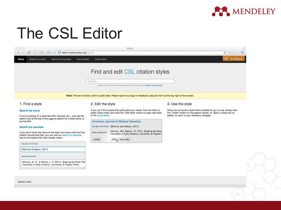 The CSL Editor