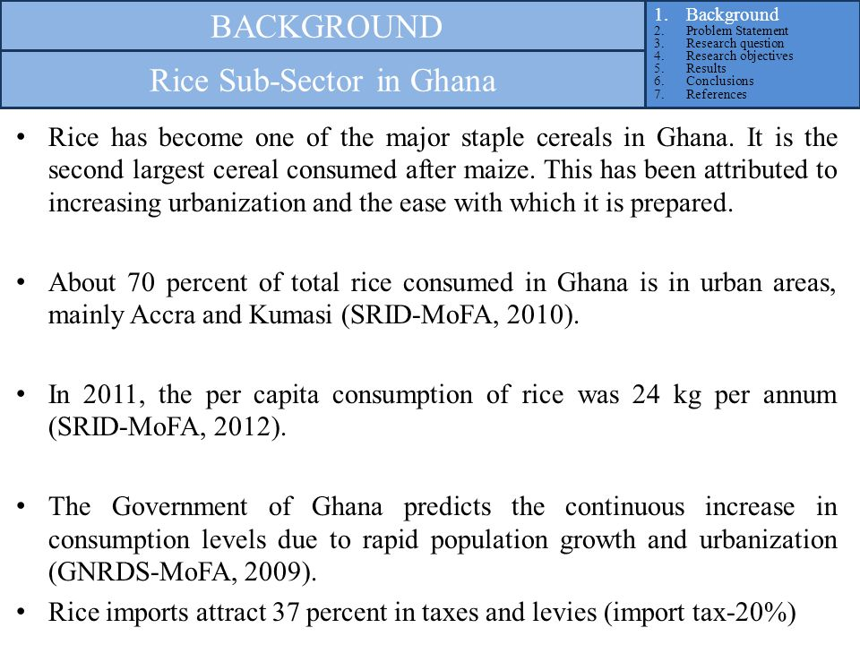 Over the past decade and a half, Ghana's rice sector has attracted the attention of stakeholders and policy makers largely due to the increase in consumption and the effect of its rising import bill on the economy.
