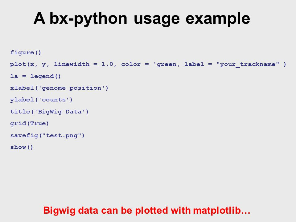 A bx-python usage example figure() plot(x, y, linewidth = 1.0, color = green, label = your_trackname ) la = legend() xlabel( genome position ) ylabel( counts ) title( BigWig Data ) grid(True) savefig( test.png ) show() Bigwig data can be plotted with matplotlib… http://mirror.vcu.edu/vcu/encode/