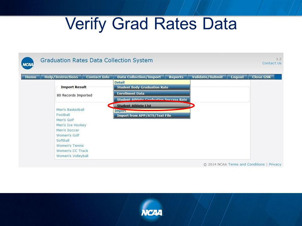 Verify Grad Rates Data