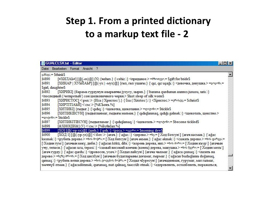 Step 1. From a printed dictionary to a markup text file - 2