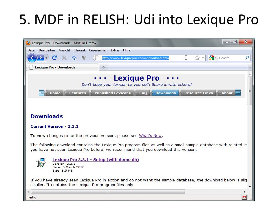 5. MDF in RELISH: Udi into Lexique Pro
