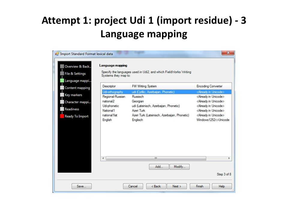 Attempt 1: project Udi 1 (import residue) - 3 Language mapping