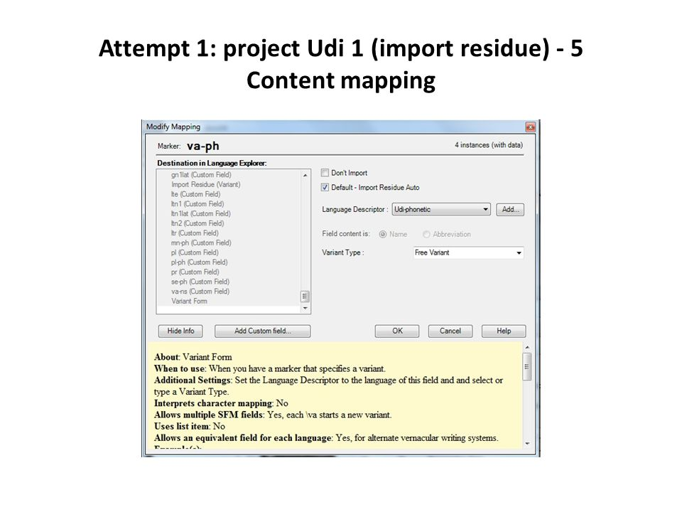 Attempt 1: project Udi 1 (import residue) - 5 Content mapping