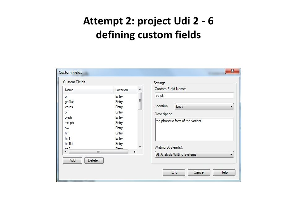 Attempt 2: project Udi 2 - 6 defining custom fields