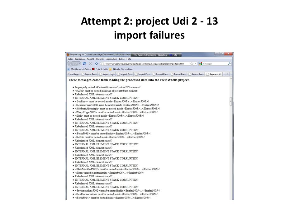 Attempt 2: project Udi 2 - 13 import failures