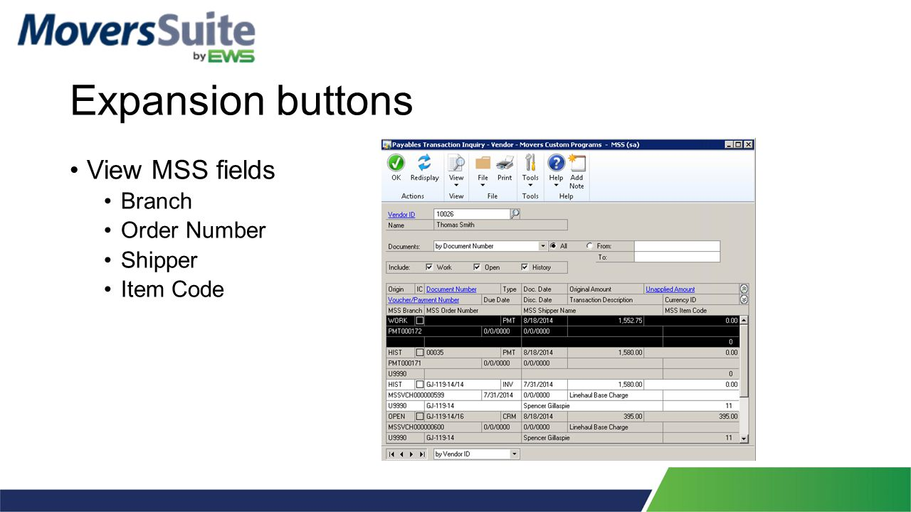 Expansion buttons View MSS fields Branch Order Number Shipper Item Code