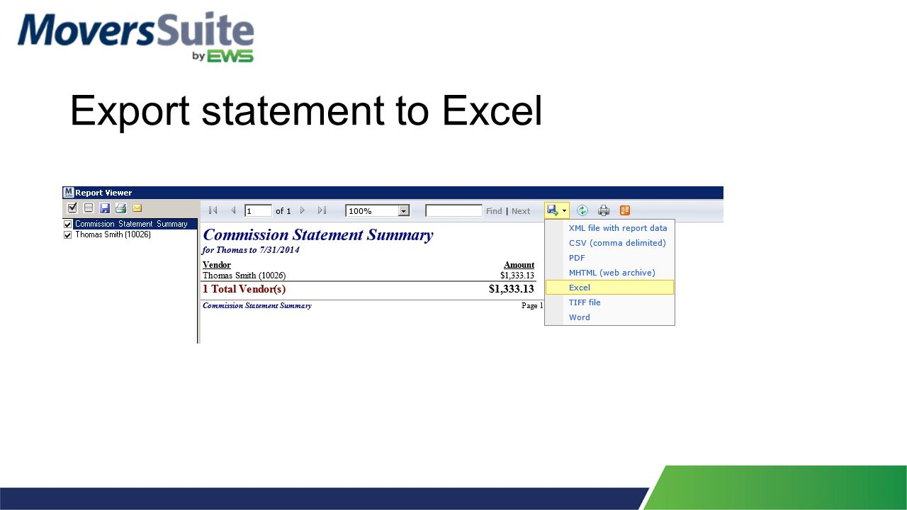Export statement to Excel