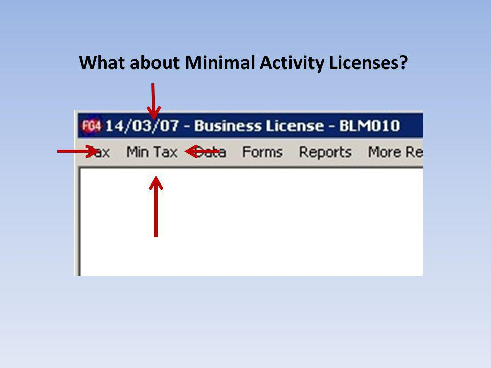 What about Minimal Activity Licenses
