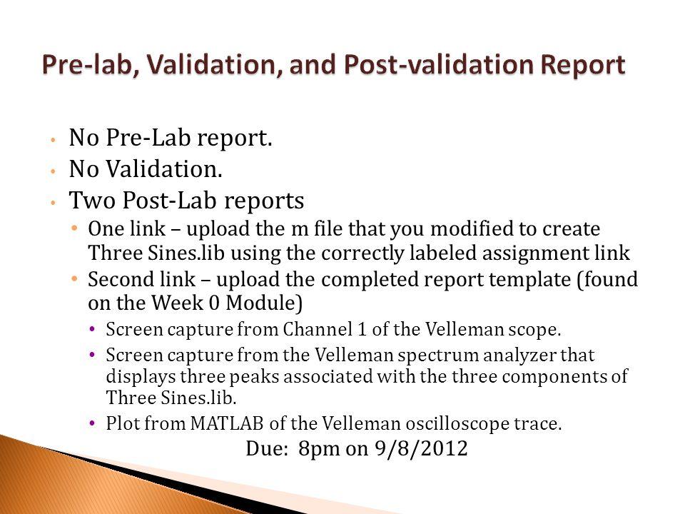 No Pre-Lab report.No Validation.