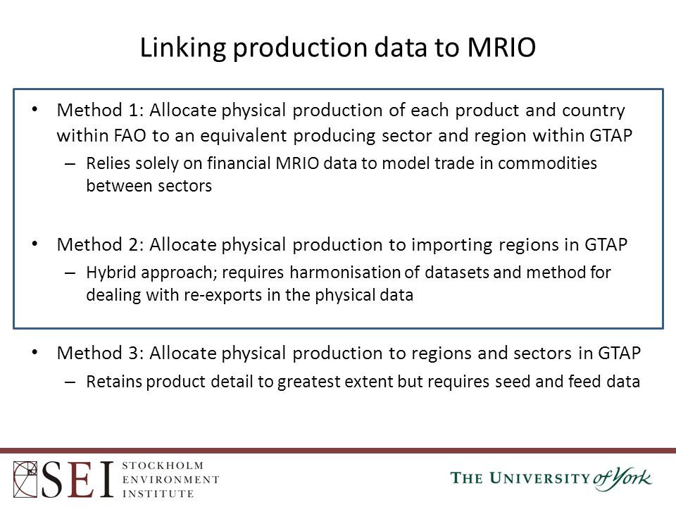 Linking production data to MRIO Method 1: Allocate physical production of each product and country within FAO to an equivalent producing sector and re