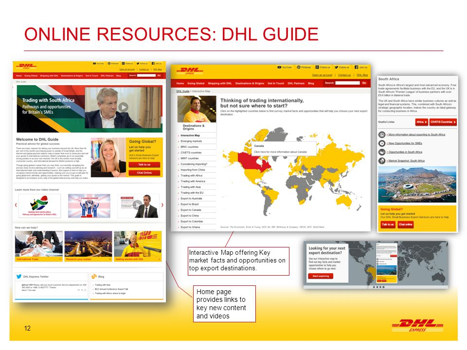 12 ONLINE RESOURCES: DHL GUIDE Home page provides links to key new content and videos Interactive Map offering Key market facts and opportunities on top export destinations.