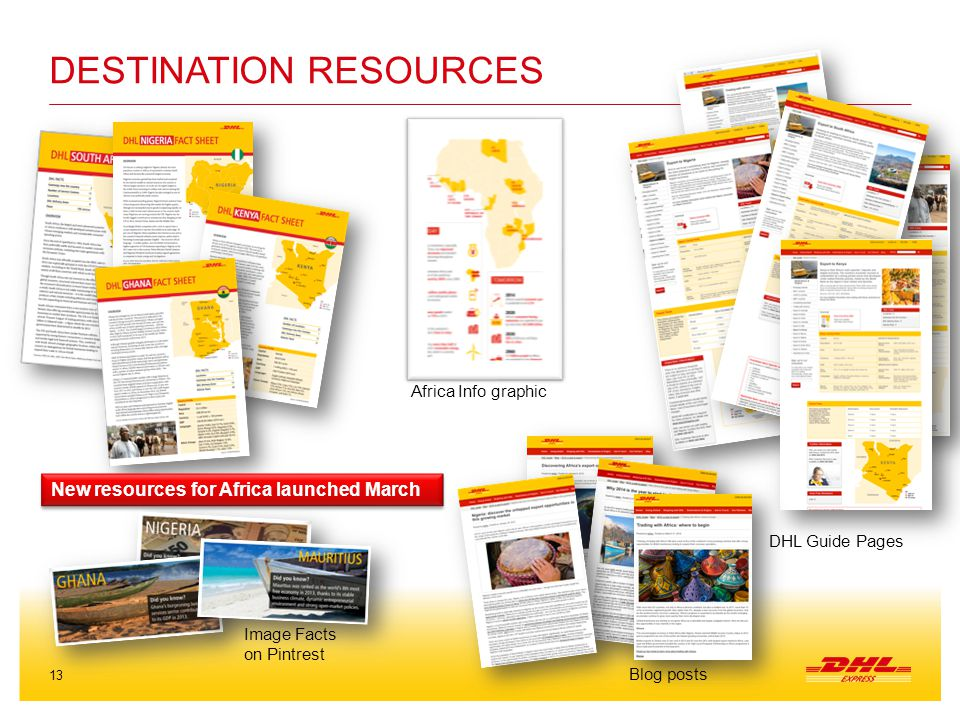 13 DESTINATION RESOURCES New resources for Africa launched March DHL Guide Pages Africa Info graphic Blog posts Image Facts on Pintrest