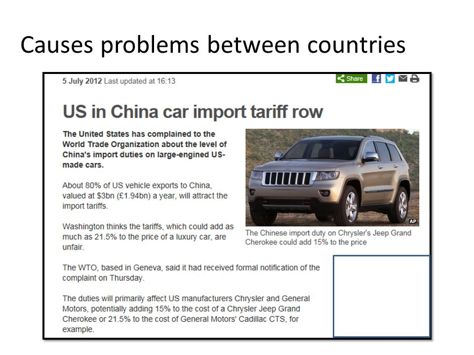 Causes problems between countries