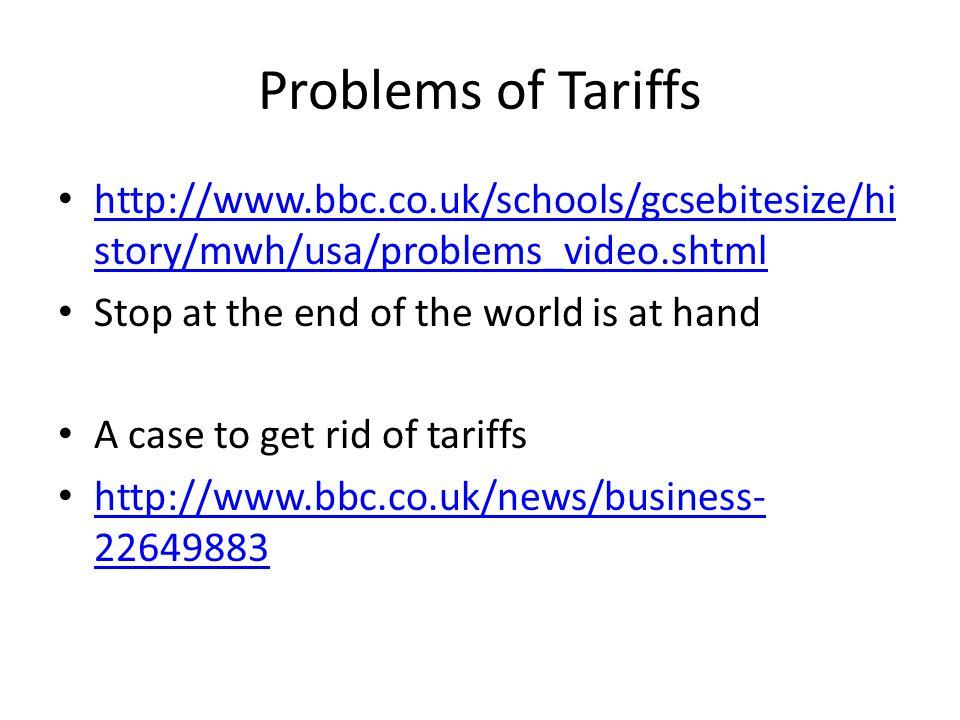 Problems of Tariffs http://www.bbc.co.uk/schools/gcsebitesize/hi story/mwh/usa/problems_video.shtml http://www.bbc.co.uk/schools/gcsebitesize/hi story