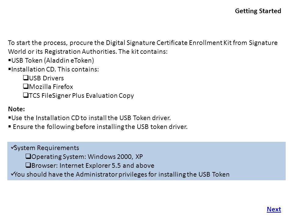 Importing the certificate into eToken choose the option 'Yes', export the private key' and click 'Next' Select Next