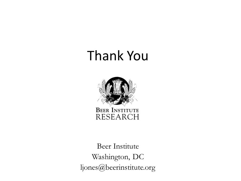 Thank You Beer Institute Washington, DC ljones@beerinstitute.org