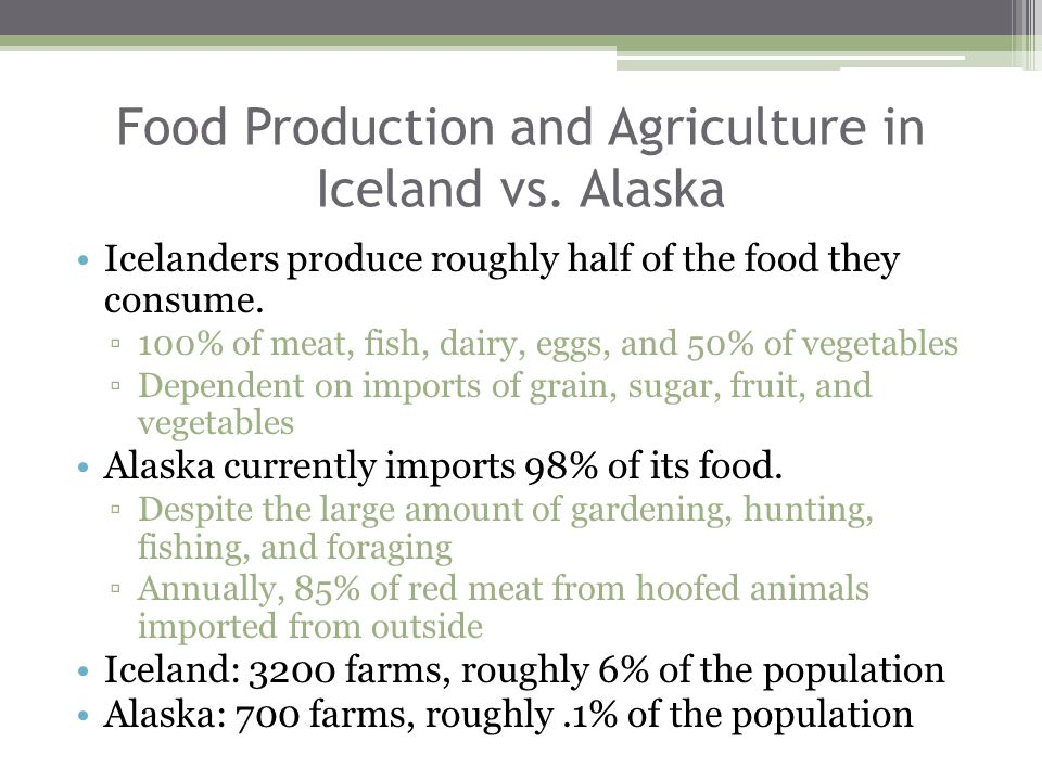 Food Production and Agriculture in Iceland vs.