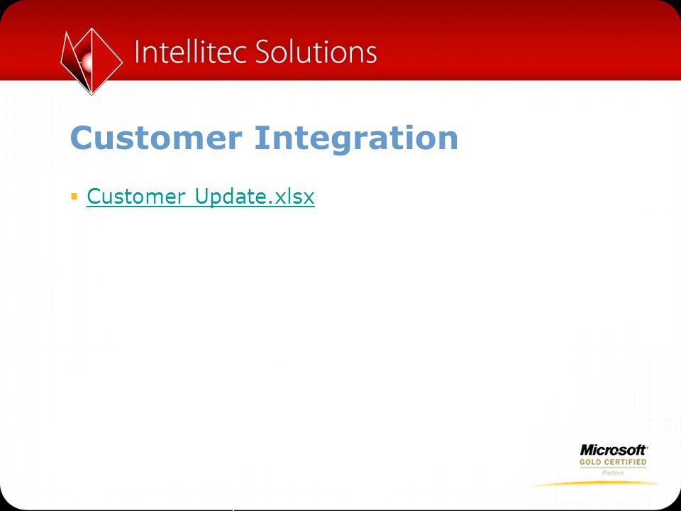 Customer Integration  Customer Update.xlsx Customer Update.xlsx