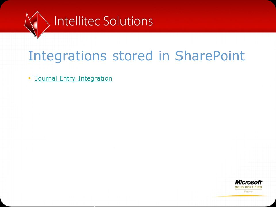 Integrations stored in SharePoint  Journal Entry Integration Journal Entry Integration