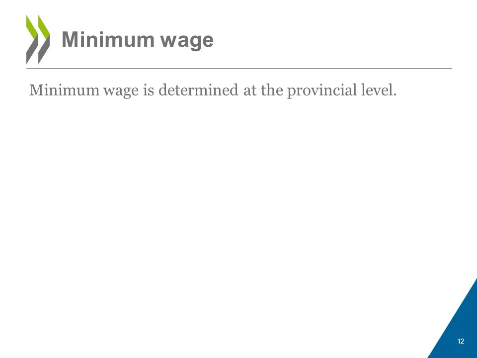 Minimum wage 12 Minimum wage is determined at the provincial level.