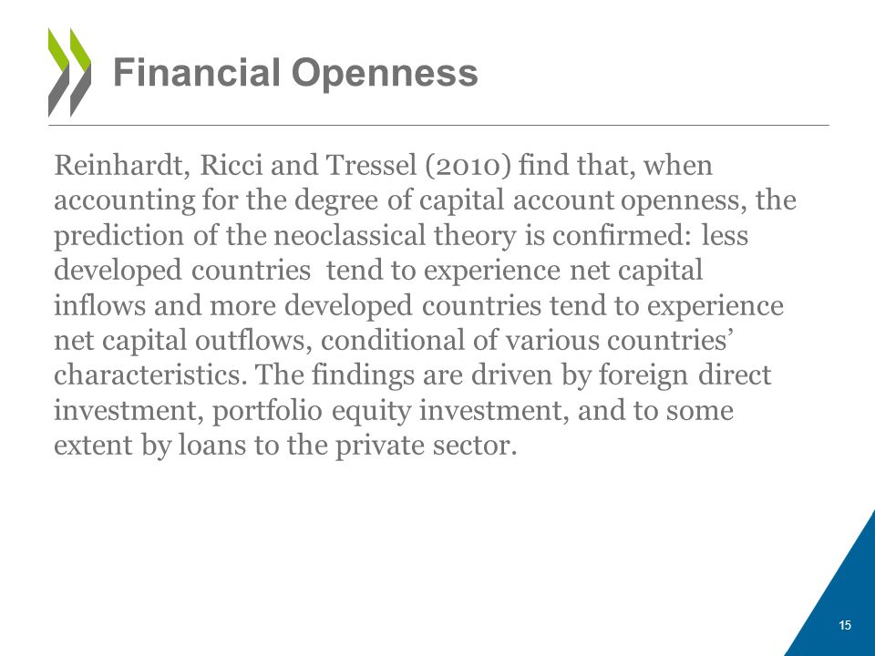 Financial Openness 15 Reinhardt, Ricci and Tressel (2010) find that, when accounting for the degree of capital account openness, the prediction of the neoclassical theory is confirmed: less developed countries tend to experience net capital inflows and more developed countries tend to experience net capital outflows, conditional of various countries' characteristics.