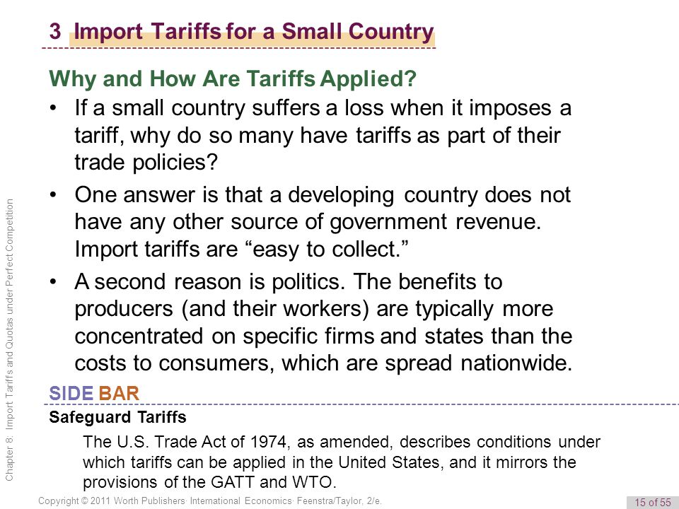 15 of 55 Copyright © 2011 Worth Publishers· International Economics· Feenstra/Taylor, 2/e. Chapter 8: Import Tariffs and Quotas under Perfect Competit