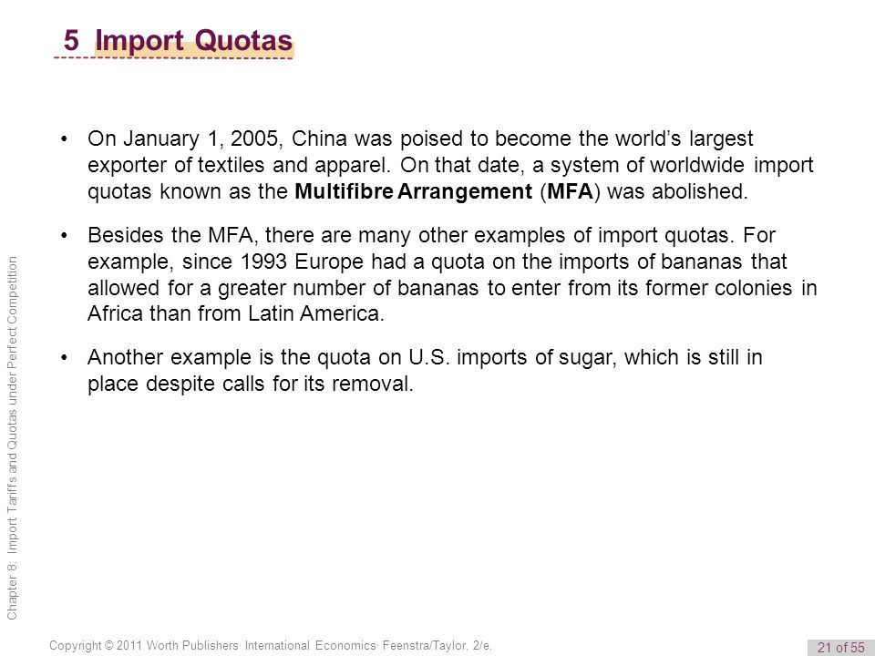 21 of 55 Copyright © 2011 Worth Publishers· International Economics· Feenstra/Taylor, 2/e. Chapter 8: Import Tariffs and Quotas under Perfect Competit
