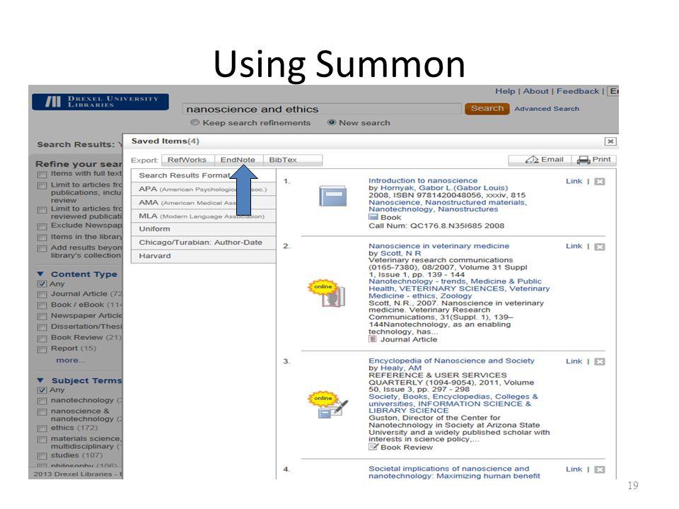 Using Summon 19