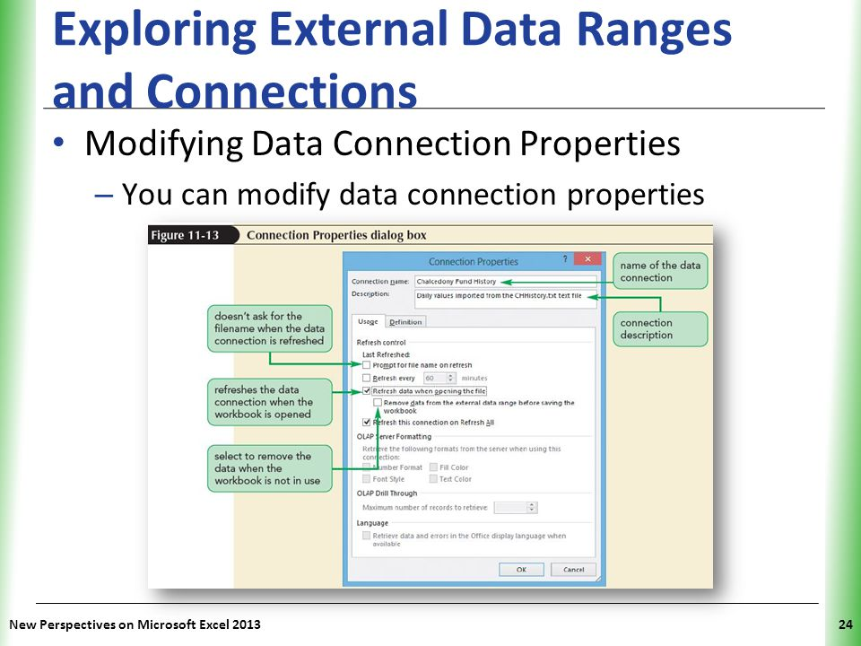 XP Exploring External Data Ranges and Connections Modifying Data Connection Properties – You can modify data connection properties New Perspectives on Microsoft Excel 201324