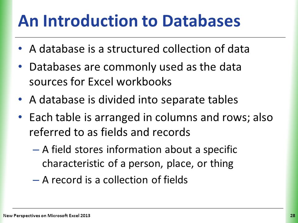 XP New Perspectives on Microsoft Excel 201328 An Introduction to Databases A database is a structured collection of data Databases are commonly used as the data sources for Excel workbooks A database is divided into separate tables Each table is arranged in columns and rows; also referred to as fields and records – A field stores information about a specific characteristic of a person, place, or thing – A record is a collection of fields