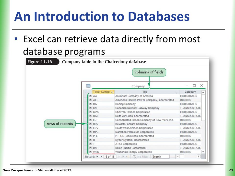 XP An Introduction to Databases Excel can retrieve data directly from most database programs New Perspectives on Microsoft Excel 201329