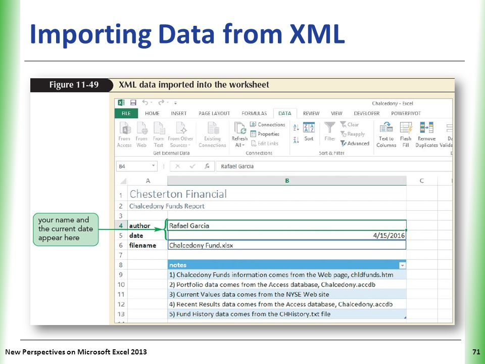 XP New Perspectives on Microsoft Excel 201371 Importing Data from XML