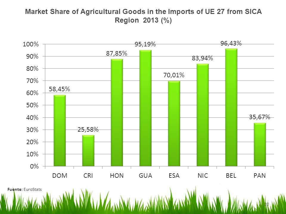 20 Market Share of Agricultural Goods in the Imports of UE 27 from SICA Region 2013 (%) Fuente: EuroStats