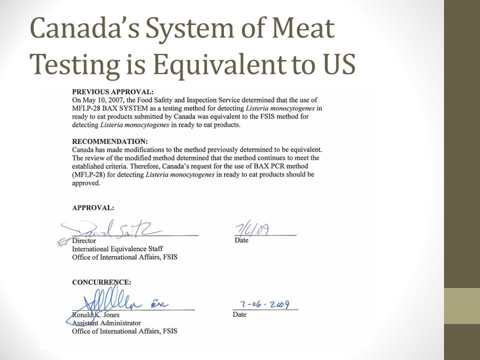 Canada's System of Meat Testing is Equivalent to US